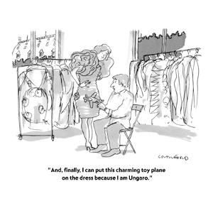 """""""And, finally, I can put this charming toy plane on the dress because I am?"""" - New Yorker Cartoon by Michael Crawford"""
