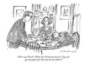"""""""Cheer up, Nicole!  What does Princeton know?  Say, you got any plans for ?"""" - New Yorker Cartoon by Michael Crawford"""
