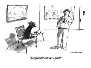 """Congratulations!  It's a bitch!"" - New Yorker Cartoon by Michael Crawford"