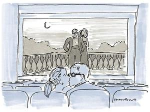 Couple kissing in movie theater as couple on screen watch them. - New Yorker Cartoon by Michael Crawford