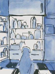 Dog in front of an open refrigerator. - New Yorker Cartoon by Michael Crawford