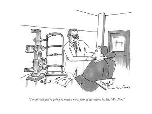 """""""I'm afraid you're going to need a new pair of corrective lashes, Mr. Fox. - New Yorker Cartoon by Michael Crawford"""