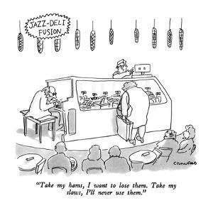 "Jazz-Deli Fusion-""Take my hams, I want to lose them.  Take my slaws, I'll ?"" - New Yorker Cartoon by Michael Crawford"