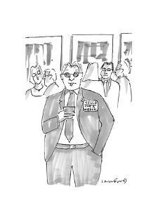 """Man at event wearing a badge that says """"Hello: I'm A Wreck"""". - New Yorker Cartoon by Michael Crawford"""