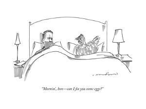 """""""Mornin', hon?can I fix you some eggs?"""" - New Yorker Cartoon by Michael Crawford"""