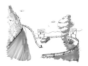One road sign reads, 'Scenic Overlook,' and another beside a big hole read? - New Yorker Cartoon by Michael Crawford