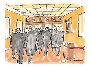 People exiting theater with sign overhead reading: 'Exeunt.' - New Yorker Cartoon by Michael Crawford