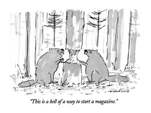 """This is a hell of a way to start a magazine."" - New Yorker Cartoon by Michael Crawford"
