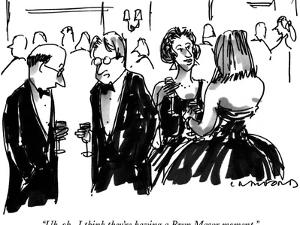 """Uh-oh.  I think they're having a Bryn Mawr moment."" - New Yorker Cartoon by Michael Crawford"