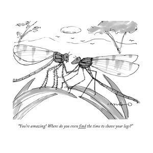 """""""You're amazing! Where do you even find the time to shave your legs?"""" - New Yorker Cartoon by Michael Crawford"""