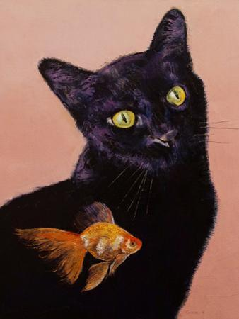 Black Cat And Goldfish by Michael Creese