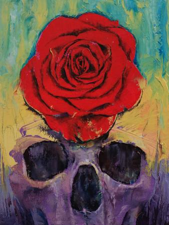 Skull With Red Rose by Michael Creese