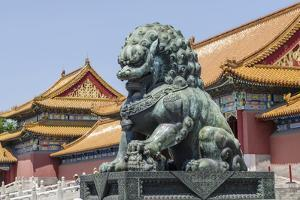 Bronze Lion Guarding the Entrance to the Gate of Supreme Harmony, Forbidden City, Beijing China by Michael DeFreitas