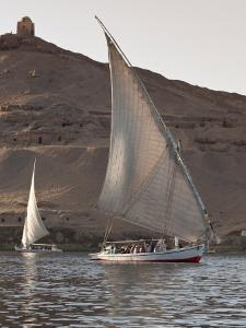 Felucca Sailing on the River Nile Near Aswan, Egypt, North Africa, Africa by Michael DeFreitas