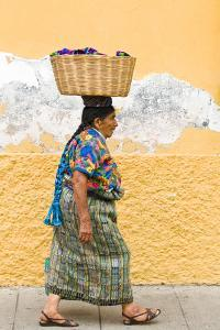 Mayan Woman in Traditional Huipiles (Blouse) and Corte (Skirt), Antigua, Guatemala by Michael DeFreitas
