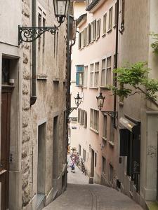 Narrow Street in Old Town, Zurich, Switzerland, Europe by Michael DeFreitas