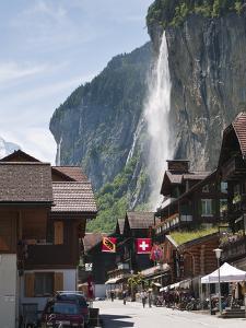 Staubbach Falls in Lauterbrunnen, Jungfrau Region, Switzerland, Europe by Michael DeFreitas