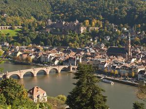 View of Alte Brucke or Old Bridge, Neckar River Heidelberg Castle and Old Town, Heidelberg, Germany by Michael DeFreitas