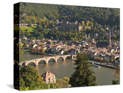 View of Alte Brucke or Old Bridge, Neckar River Heidelberg Castle and Old Town, Heidelberg, Germany