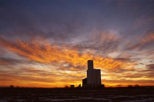 The Sunsets Behind a Grain Elevator by Michael Forsberg
