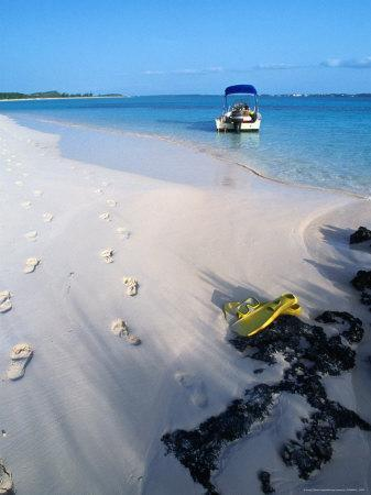 Empty Beach with Snorkelling Gear and Sandy Footprints Near Georgetown, George Town, Bahamas