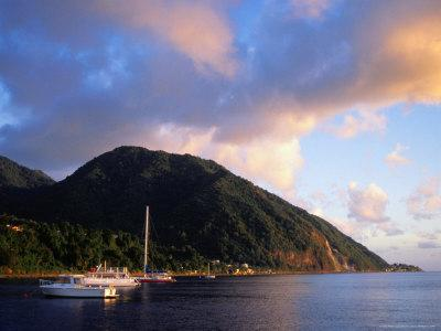 Yachts Moored South of Rouseau, West Coast, Roseau, Dominica