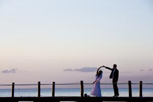 Newlyweds Practice for their First Dance after their Beach Wedding on the Island of Cozumel by Michael Lewis