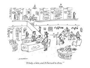"""""""A bialy, a latte, and 'A Farewell to Arms.' """" - New Yorker Cartoon by Michael Maslin"""