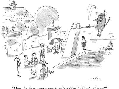 A bison dives off a board into a swimming pool.  - New Yorker Cartoon