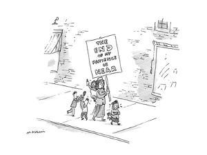 """A mother with four small, crying, arguing children, is walking down a stre?"""" - New Yorker Cartoon by Michael Maslin"""