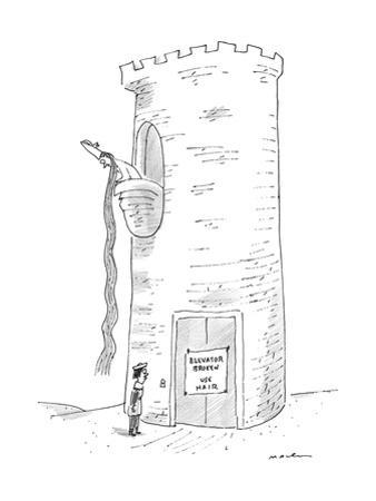 A prince reads that Rapunzel's tower's elevator is broken. - New Yorker Cartoon by Michael Maslin