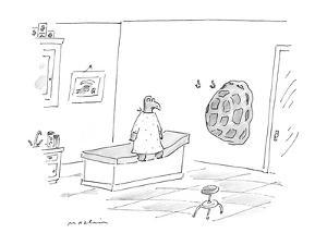 A turtle at a the doctor's office who has hung up his shell on the wall. - New Yorker Cartoon by Michael Maslin