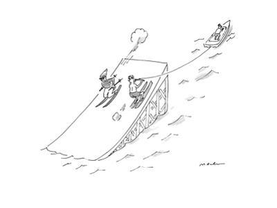 A water skier encounters a long jump downhill snow skier.  - New Yorker Cartoon by Michael Maslin