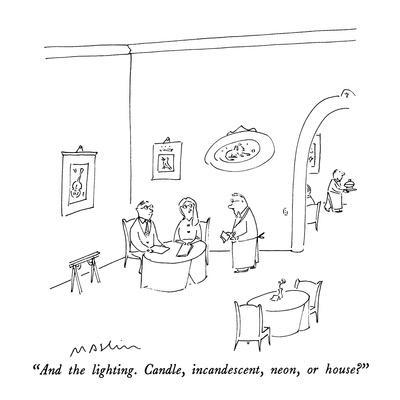 """And the lighting.  Candle, incandescent, neon, or house?"" - New Yorker Cartoon"