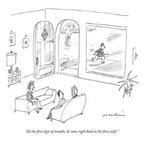 """""""At the first sign of trouble, he runs right back to his first wife."""" - New Yorker Cartoon by Michael Maslin"""
