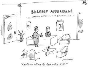 """""""Could you tell me the shock value of this?"""" - New Yorker Cartoon by Michael Maslin"""