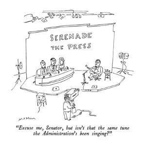 """""""Excuse me, Senator, but isn't that the same tune the Administration's bee?"""" - New Yorker Cartoon by Michael Maslin"""