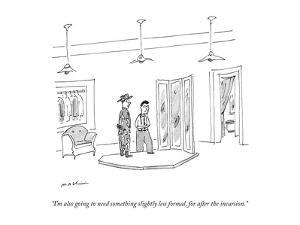 """""""I'm also going to need something slightly less formal, for after the incu?"""" - New Yorker Cartoon by Michael Maslin"""
