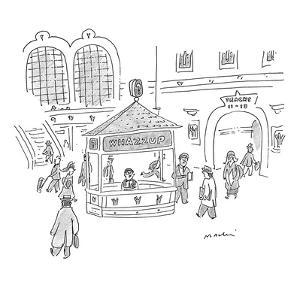 Information Booth in Grand Central reads, 'Whazzup.' - New Yorker Cartoon by Michael Maslin