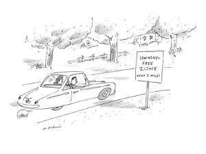 Man and woman driving past road sign that reads, 'Lewinsky-Free Zone Next ? - New Yorker Cartoon by Michael Maslin