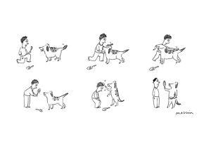 Man brushes dogs fur, then dog brushes man's hair. - New Yorker Cartoon by Michael Maslin