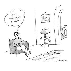 Man sitting in chair with legs twisting around each other, thinks to himse? - New Yorker Cartoon by Michael Maslin