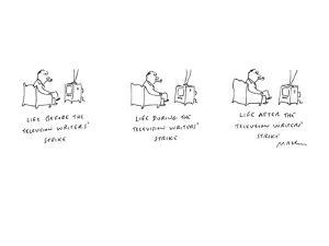 """Man watching television with inscriptions """"Life Before Television Writers'? - New Yorker Cartoon by Michael Maslin"""