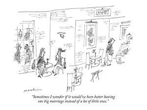 """""""Sometimes I wonder if it would've been better having one big marriage ins?"""" - New Yorker Cartoon by Michael Maslin"""
