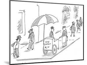 Street vendor with cart that reads, 'Eye Contact $1.00.' - New Yorker Cartoon by Michael Maslin