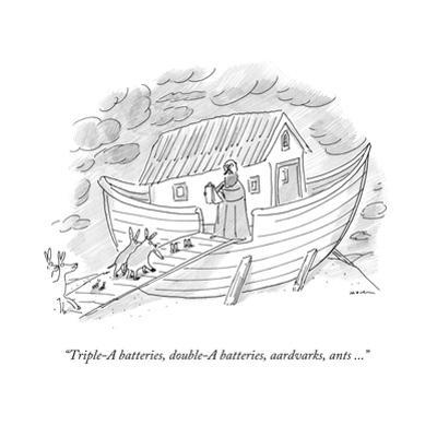 """Triple-A batteries, double-A batteries, aardvarks, ants ..."" - New Yorker Cartoon by Michael Maslin"