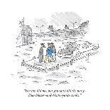 At Yankee Stadium there is a banner that reads 'Yankee Stadium with George? - New Yorker Cartoon-Michael Maslin-Premium Giclee Print