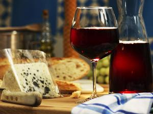 Red Wine in Glass and Carafe and a Piece of Gorgonzola by Michael Meisen