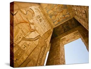 A Detail of Columns and Ceiling at Medinet Habu by Michael Melford