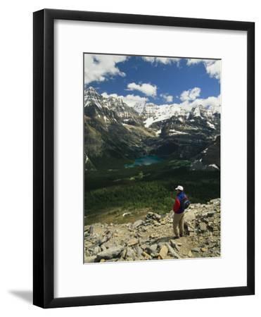 A Hiker Enjoys the View of Obabin Prospect in Yoho National Park
